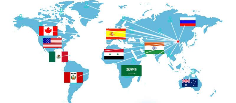 世界销售区域分布图